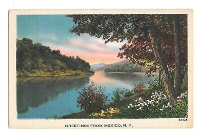 Vintage Postcard Greetings From Mexico NY PM 1953 Metrocraft Linen Era