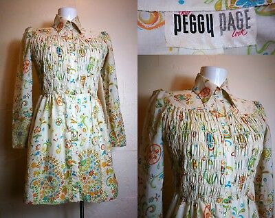 Vintage Late 60's PEGGY PAGE Hippie Mod Collared Floral Mini Dress UK 10/12 S