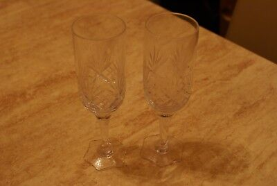 Pair Of Beautiful Cut Glass Lead Crystal Wine Glasses