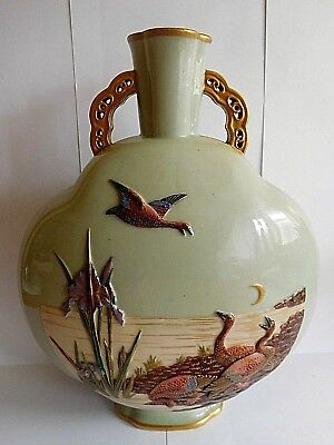 19Th Century Royal Worcester Moon Flask In Japanese Style Painted With Ducks