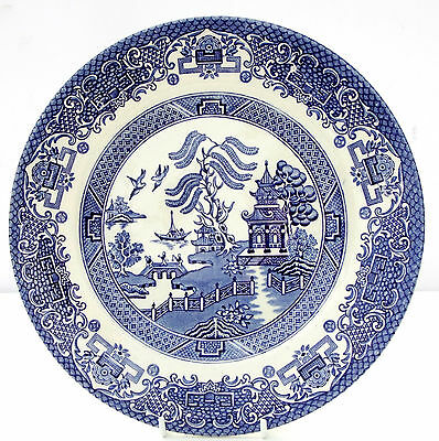 Vintage English Ironstone Tableware Willow Pattern Blue White Salad Plate