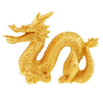 1 Piece Dragon Figurine Chinese Feng Shui Statue Room Decoration Gold