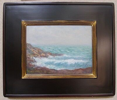 HOWARD B. SPENCER Listed Artist 1920s Northeast Coastal NY Seascape Signed Oil