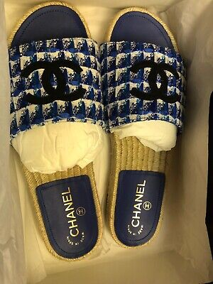d928c2d3b7ae CHANEL Blue Tweed And Grosgrain Espadrille Mules Shoes Size 8