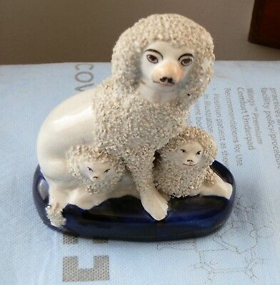 Rare Antique Porcelain Mid-19th Century Poodle Mom With Pups On A Cobalt Base