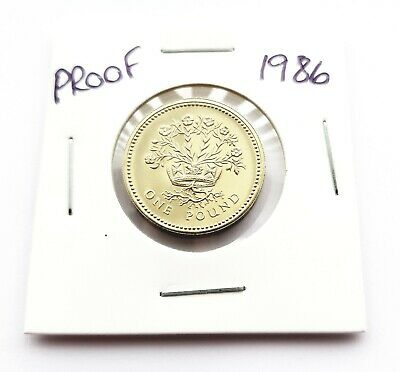 1986 PROOF £1 Coin,GB/UK, Royal Mint,One Pound,Bunc/unc/Bu,Flax plant,from a set