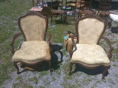 2 Classy Ornate Carving(Roses&More) Antique /Parlor Style Arm Chairs