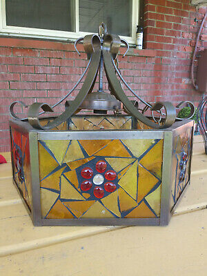 Gothic Wrought Iron / Fancy Stained Glass Chain Lamp Mcm Vintage