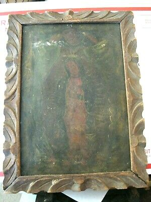 Original 1800's Retablo On Tin Our Lady De Guadalupe Framed' Great Collectable