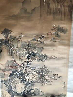 OLD Antique CHINESE WATERCOLOR INK Painting ON SILK PAINTING SIGNED & SEAL STAMP
