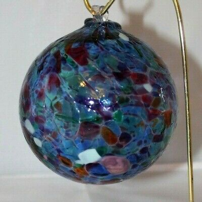 Glass Friendship Sun Catcher or Witches Ball Ornament Speckled Hand Blown Art