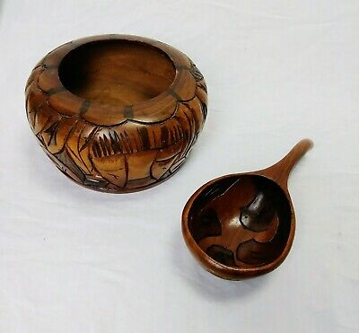 Antique Handcarved Native Haitian Bowl & Spoon Decorative Wooden Cultural Art