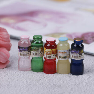 5pcs 1:12 scale miniature dollhouse drink bottle mini food play kids kitchen  JO