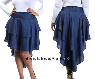 1c18a3d14b LEIFSDOTTIR (ANTHROPOLOGIE) RUFFLE Stretch Denim Skirt Dark Blue ...