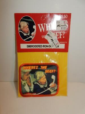 Vintage Nos Wendy's Restaurant 1984 Where's The Beef Iron On Patch Leshner Corp