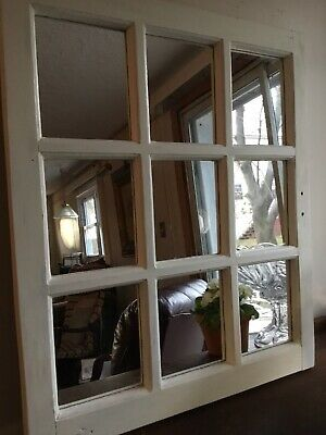 Art wood Window Architectural Salvage with mirrors cottage vintage Wedding Decor