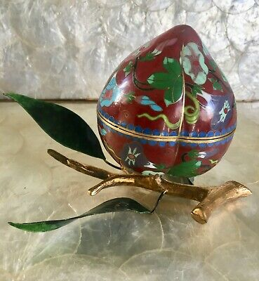 Vintage Chinese Gilded Cloisonne Enamel Fruit Peach Shaped Box Jar Enamel Leaves