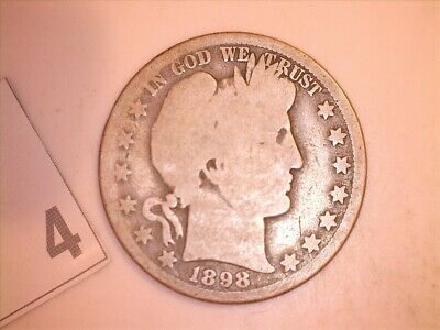 1898'o BARBER SILVER HALF DOLLAR in  GOOD condition, RARE DATE, FREE SHIPPING