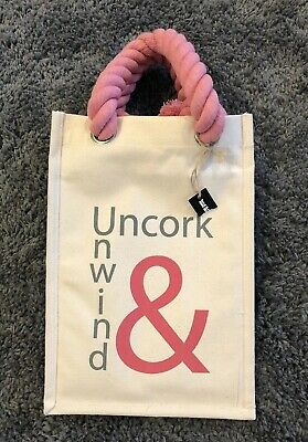 Wine Bag Canvas Knot Pink New Uncork & Unwind 6 Bottles