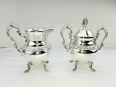Birmingham Silver On Copper Footed Creamer & Sugar Bowl Chased Grapes & Leaves