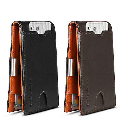 Men's Wallet RFID Blocking Genuine Leather Coin Purse Money Clip Card Holder AU