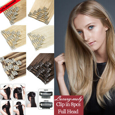 100% Real Remy Human Hair Extensions Clip IN 8PCS 18Clips IN Full Head Easy A37