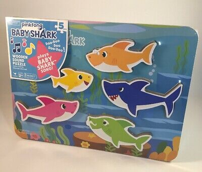 f0c360d7f Pinkfong Baby Shark Chunky Wooden Sound Puzzle - Plays The Baby Shark Song
