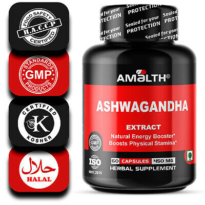 ASHWAGANDHA Men's Stamina Booster Extract 450 mg 60 Withanolides Capsules