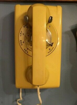 Vintage Bell System Western Electric Rotary Wall Phone Yellow 554Bmp  - Works!