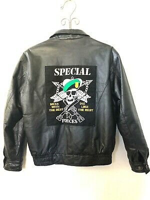 LEATHER USA Leather MOTO JACKET MILITARY SPECIAL FORCES SMALL - RUNS LARGE