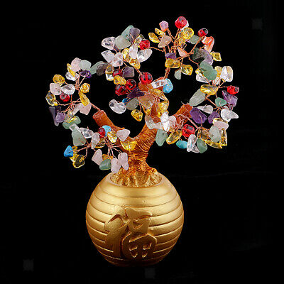 """Colorful Chinese Feng Shui Wealth Tree Printed """"Fu"""" Pot for Lucky Healthy"""