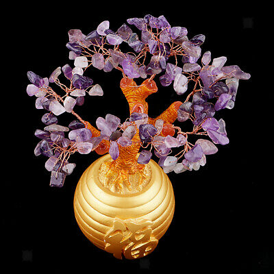 """Lucky Purple Tree Feng Shui with Printed Chinese """"Fu"""" Pot for Money Wealth"""