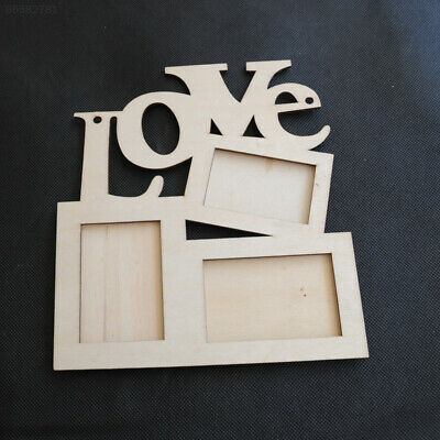 FE78 New Hollow Love Wooden Photo Picture Frame Rahmen White Base Home Decor