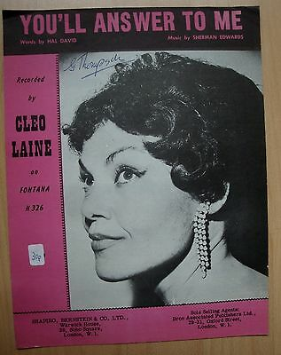 You'll Answer To Me - Cleo Laine - Sherman Edwards - Slow - 1961 - Musiknote