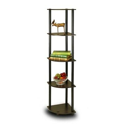 5 Tier Corner Display Shelf Bookcase In Espresso Black