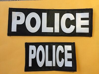 One Pair Of Police Bag Patches, Law Enforcement, White on Black
