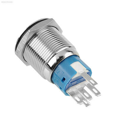B6CB 19mm 12V 5A Blue LED ON/Off Push Button Metal Switch Pin Terminals Flat