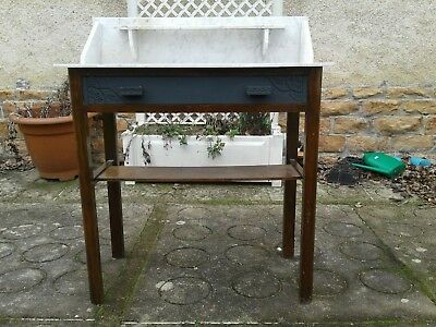 French antique vintage Henri ii style marble topped wash stand