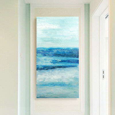 Hand-painted Art Canvas Oil Painting Impression Seaside Home Decor - Framed