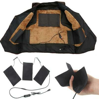 Electric USB Heating 3 Pads Thermal Vest Heated Jacket Motorcycle Warm Winter