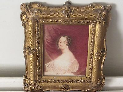 Early 19th C Miniature Watercolour Portrait  with Gilt Decorative Frame