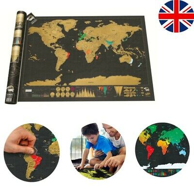 Deluxe Edition Tracker Scratch Off World Map Poster Travel Log Journal Kids Gift