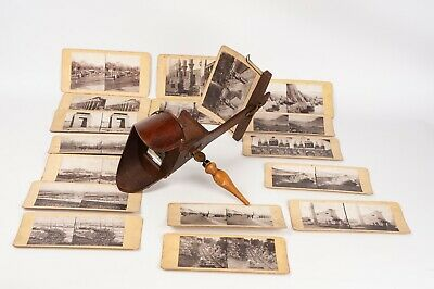Hand-help Stereoscope , wood stereo viewer for 9x18 cm card + 17 cards