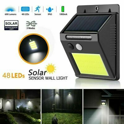 48LED Solar Powered PIR Motion Sensor Wall Security Light Garden Lamp Outdoor UK