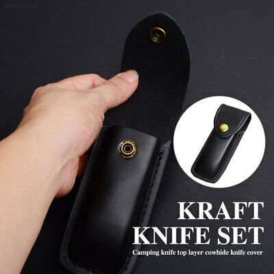 AA2F Durable Leather Hunting Dagger Pocket Sheath Cover Tactical Black Case