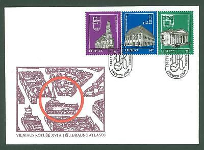 Lithuania E02 FDC 1994 3v Palace Architecture Town Hall Under face