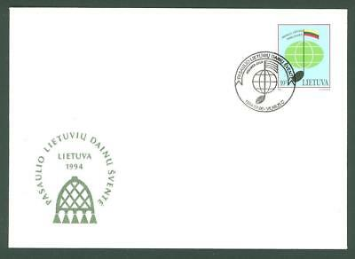 Lithuania D97 FDC 1994 Flag Music Below face