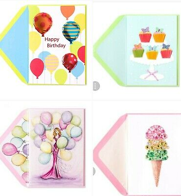 Lot Of 4 Papyrus Happy Birthday Cards Envelopes Balloons Gem Ice Cream Cupcakes