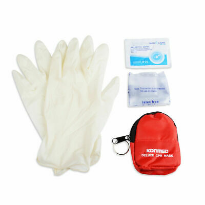 CPR Mini First Aid Kits With Rescue CPR Mask Key Chian Gloves & Swabs 10 Pieces