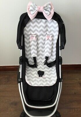 Grey white chevrons PUSHCHAIR PRAM LINER  DOUBLE BOW HARNESS COVERS HAND MADE